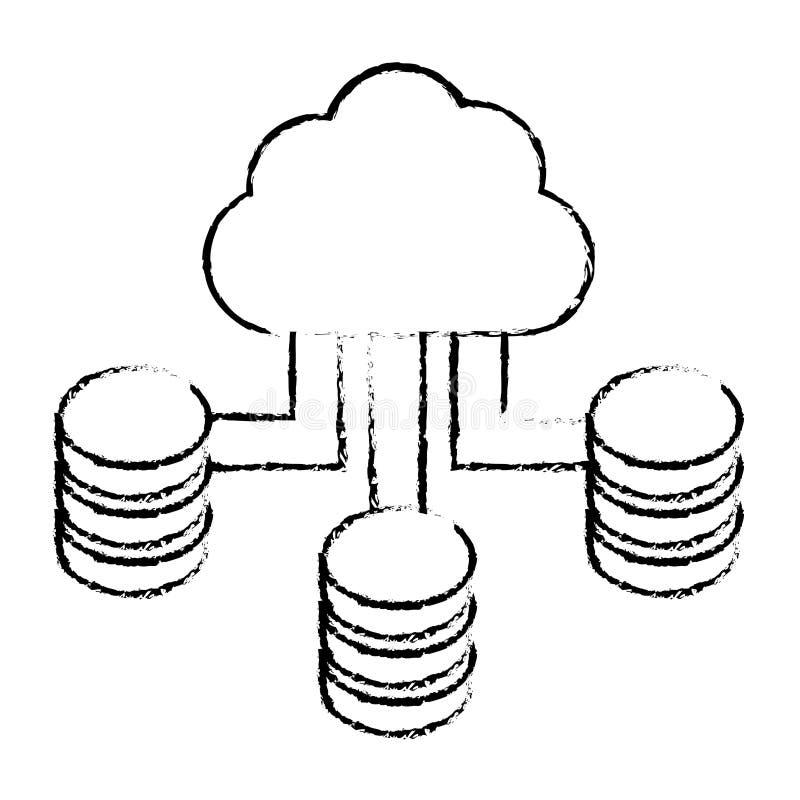 diagram moln som är värd datorhallen vektor illustrationer