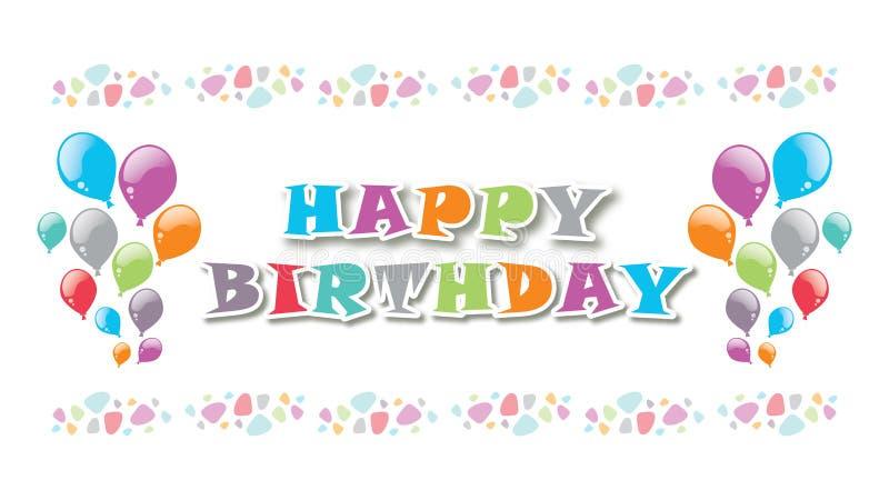 Diagram och ballonger för färg för födelsedaghälsningkort vektor illustrationer