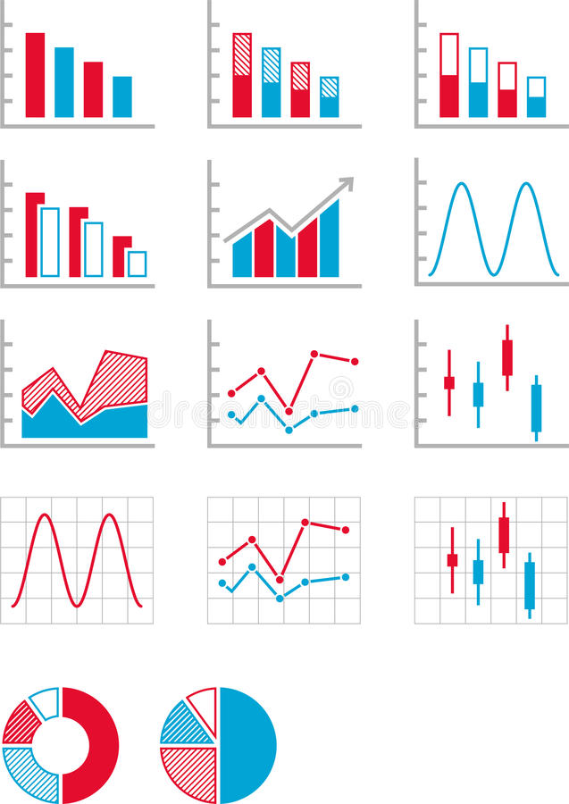 Diagram och grafer stock illustrationer