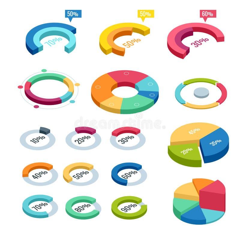 Diagram och grafiskt isometriskt, finans för affärsdiagramdata, grafrapport, informationsdatastatistik som är infographic vektor illustrationer