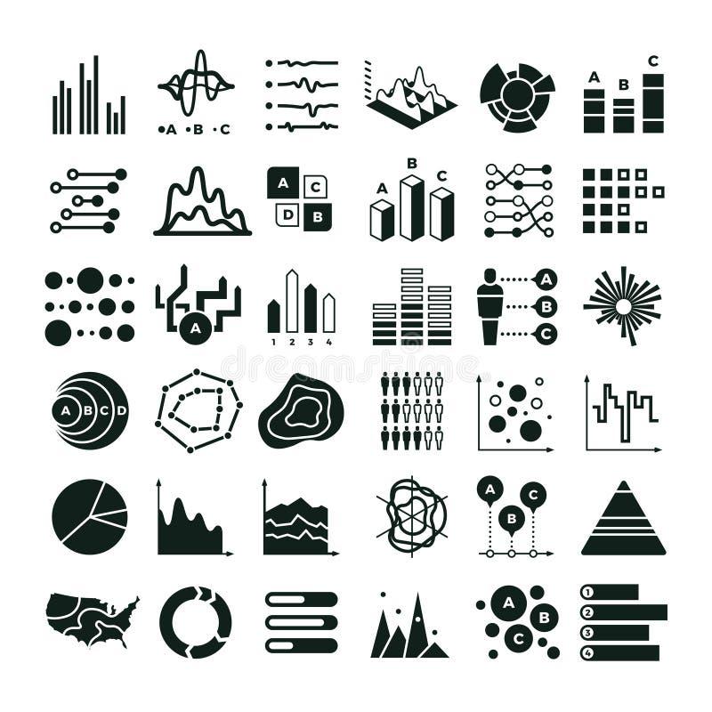 Diagram och infographic vektorsymboler Symboler för diagram och för graf för affärsdata royaltyfri illustrationer