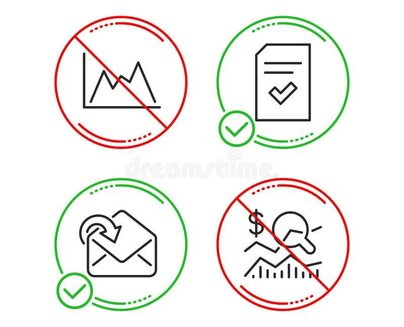 Diagram, Otrzymywa poczt? i Sprawdza? kartotek ikony ustawiaj?cych Sprawdza inwestycja znaka wektor ilustracji