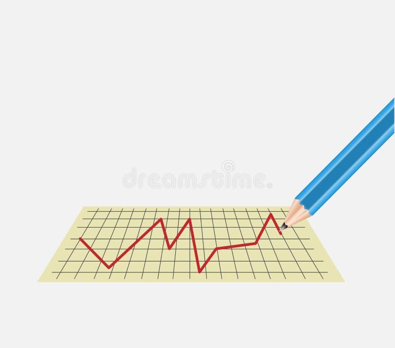 Diagram på arket med en blyertspenna vektor illustrationer