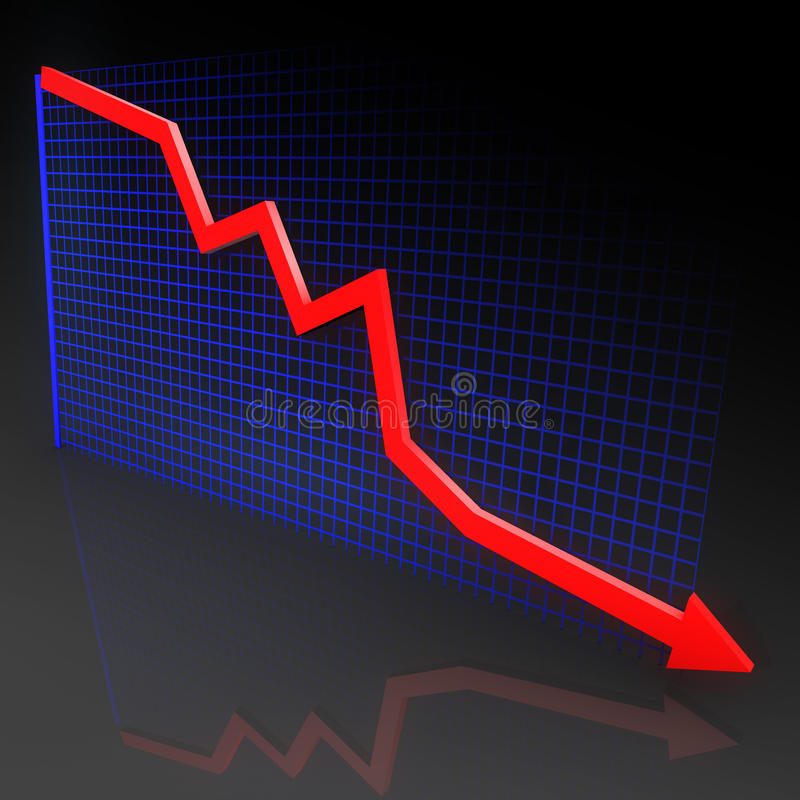 Diagram with red arrow stock photo