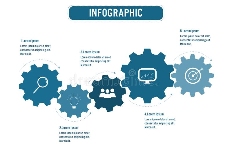 Diagram särar den infographic mallen för affären med kugghjulform för 5 alternativ, abstrakta beståndsdelar, eller processar och  royaltyfri illustrationer