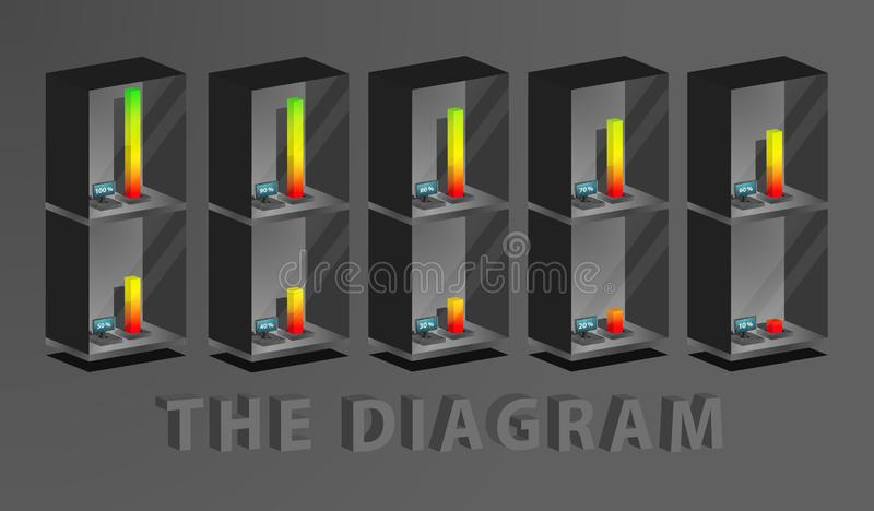 The diagram on a scale from 10 to 100 percent. Vector stock illustration