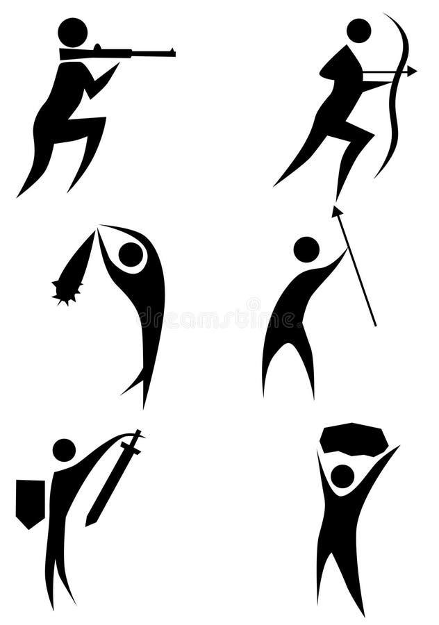 diagram set stick för jägare stock illustrationer