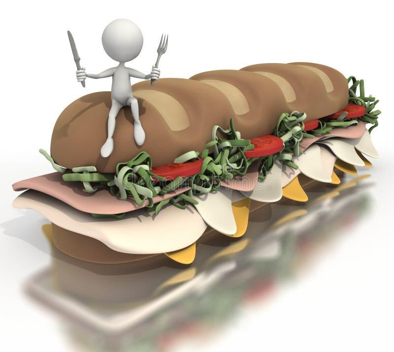 diagram sittande sticksub för smörgås royaltyfri illustrationer