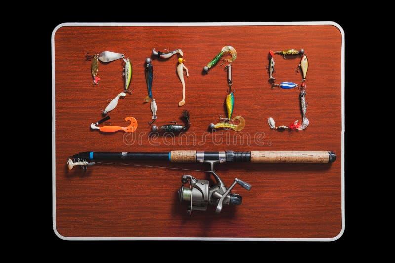 2019 diagram som göras från beten för att fiska royaltyfri foto