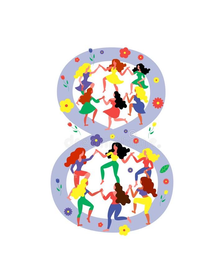 Diagram 8 som omges, genom att dansa kvinnor Kvinnor dansar i diagram 8 Vektorillustration för kvinnors dag vektor illustrationer