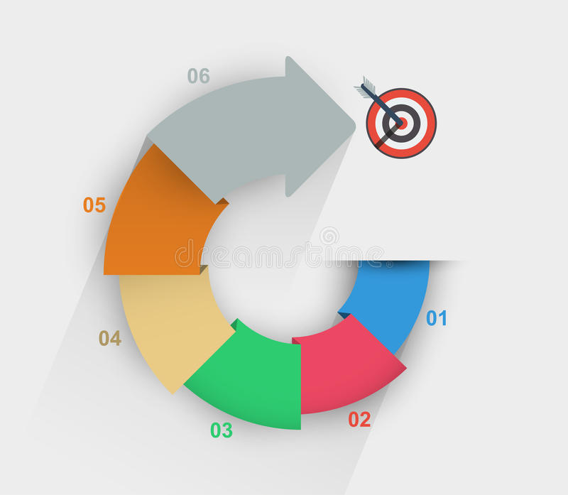 Diagram with step by step data. Bright color diagram with step by step data to the target stock illustration