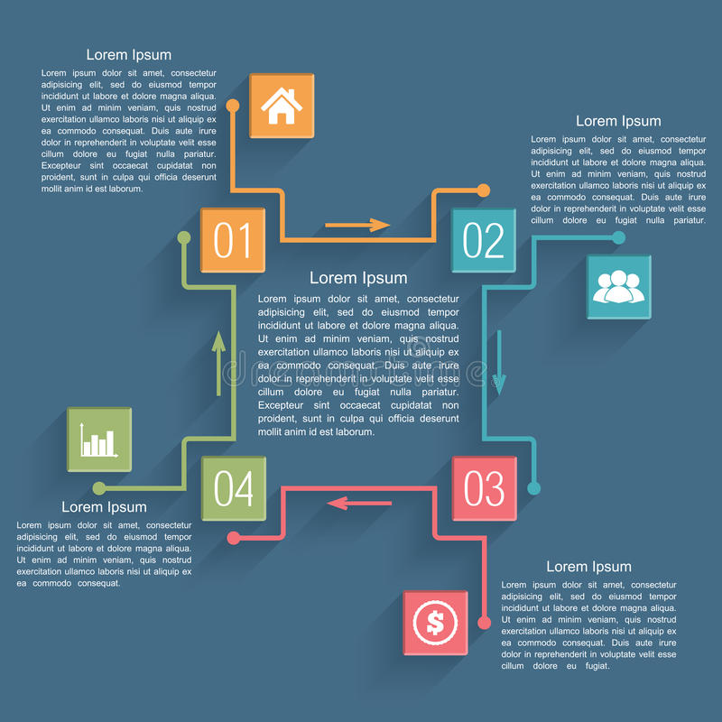 Diagram Template. With four elements vector illustration