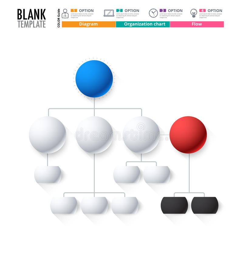 Diagram Template, Organization chart template. flow template. Blank diagram for replace text, white color, Circle diagram, vector stock design. (blank stock illustration