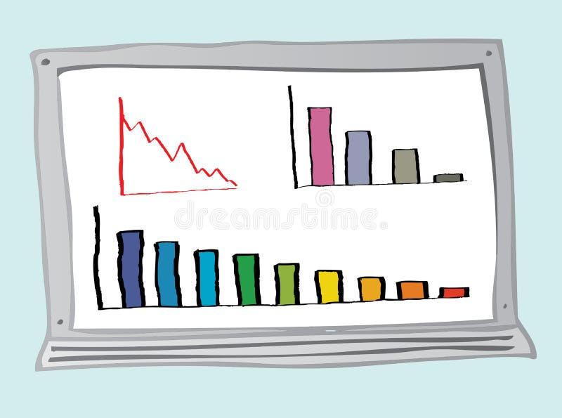 diagram tenderar ner vektor illustrationer