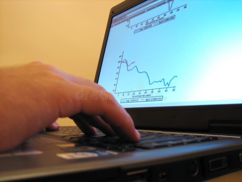 Diagram van crisis op laptop stock fotografie