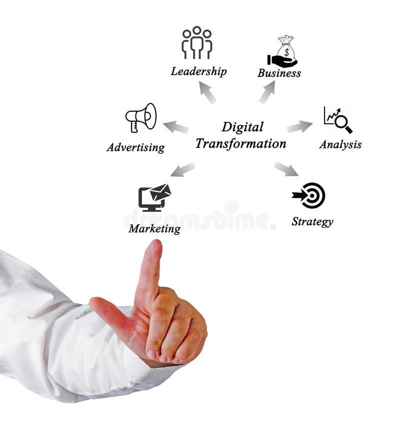 Diagram van Digitale Transformatie stock foto's