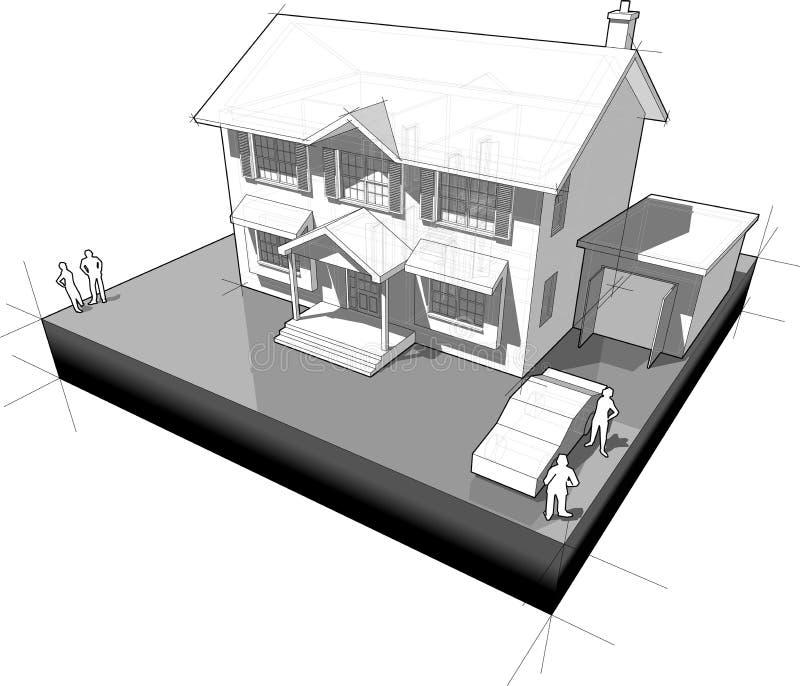 Diagram van een klassiek koloniaal huis met garage en auto vector illustratie
