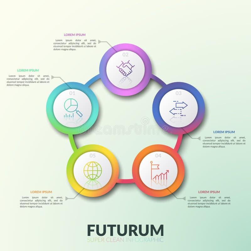 Diagram van het bloembloemblaadje, 5 verbond cirkelelementen aan aantallen, dunne lijnpictogrammen en tekstvakjes Ronde grafiek m royalty-vrije illustratie