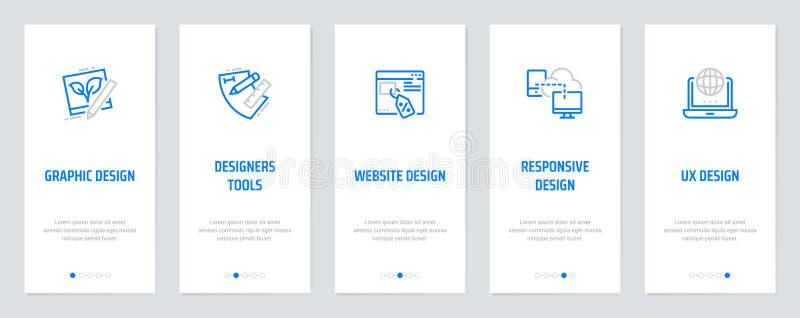 Diagram Website som är svars-, UX design, formgivarehjälpmedel, vertikala kort med starka metaforer stock illustrationer
