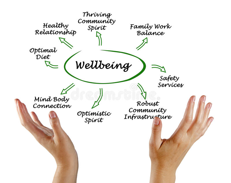 Diagram of Wellbeing. Diagram of causes of Wellbeing royalty free stock photos