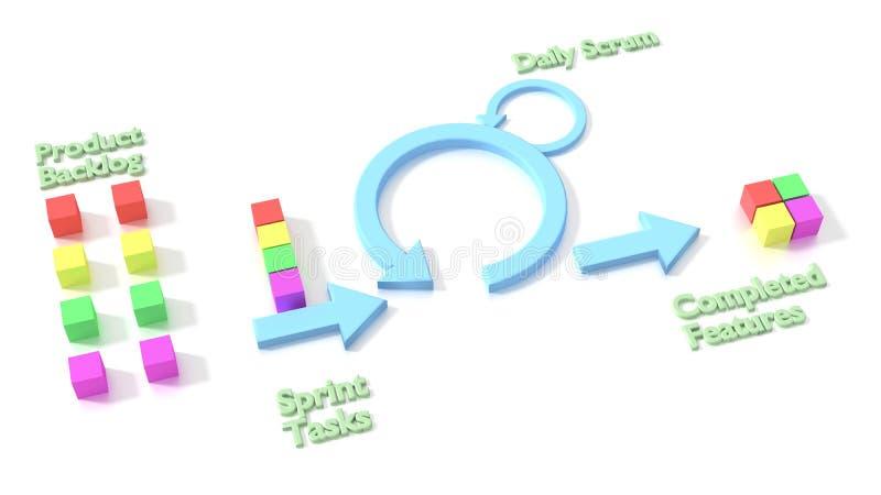 Diagrama ágil de la metodología de desarrollo de programas del melé en blanco ilustración del vector