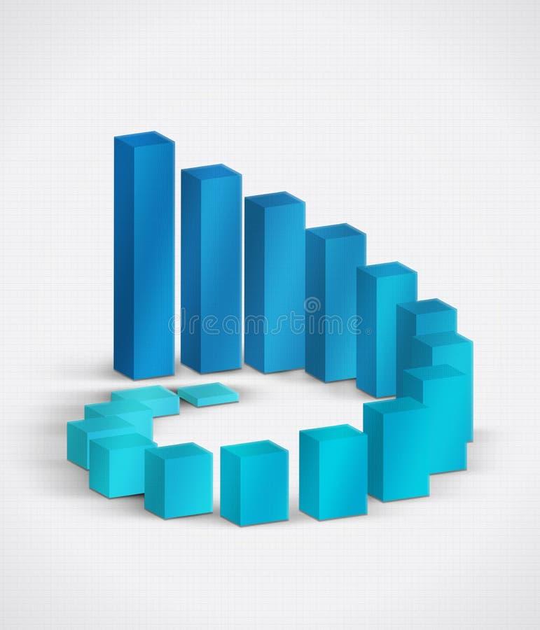 Diagrama 3D da barra do crescimento ilustração royalty free