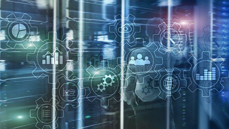 Diagrama abstrato do processo de negócios com engrenagens e ícones Conceito da tecnologia dos trabalhos e da automatização ilustração royalty free