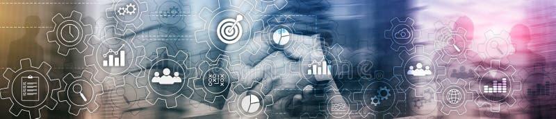 Diagrama abstrato do processo de negócios com engrenagens e ícones Conceito da tecnologia dos trabalhos e da automatização Encabe imagens de stock royalty free