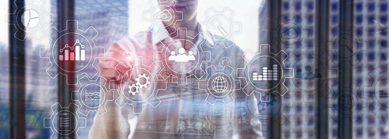 Diagrama abstrato do processo de negócios com engrenagens e ícones Conceito da tecnologia dos trabalhos e da automatização fotografia de stock