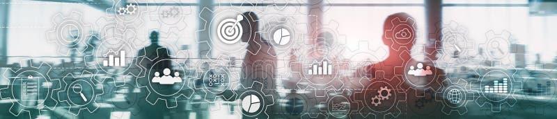 Diagrama abstrato do processo de negócios com engrenagens e ícones Conceito da tecnologia dos trabalhos e da automatização Bandei ilustração royalty free