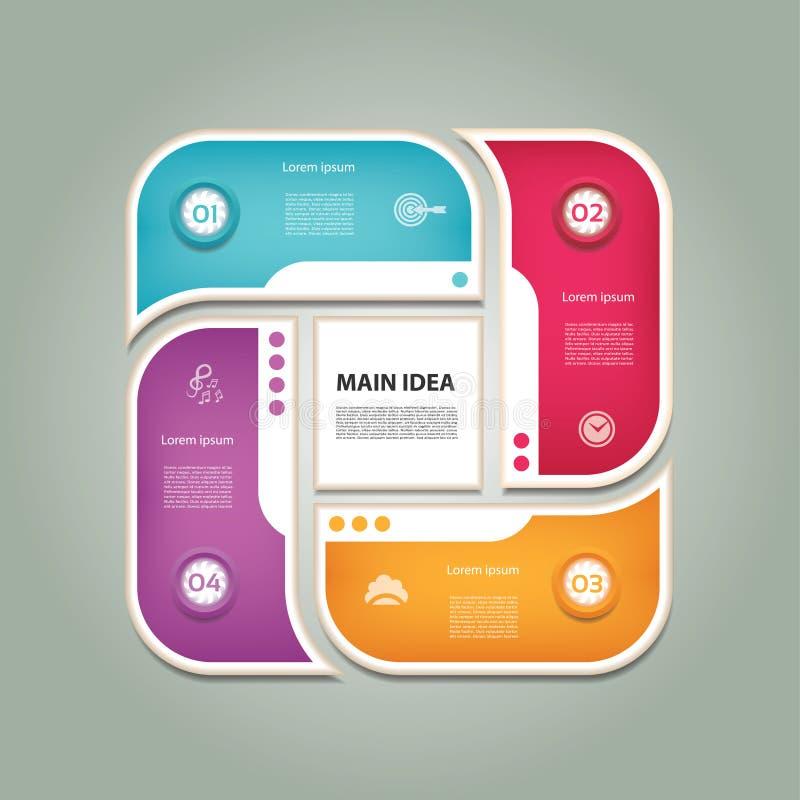 Diagrama cíclico con cuatro pasos e iconos libre illustration