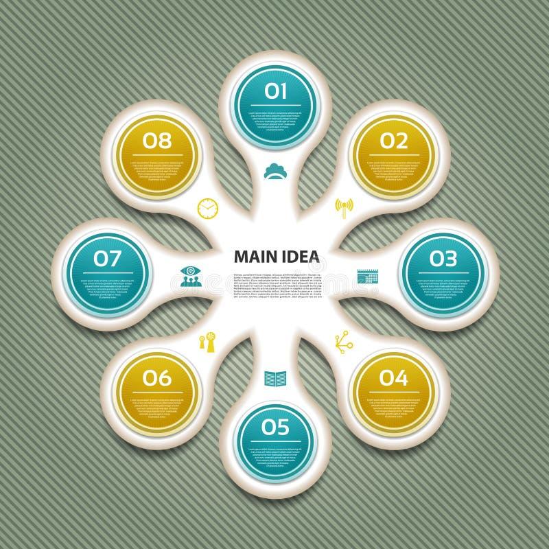 Diagrama cíclico con ocho pasos e iconos stock de ilustración
