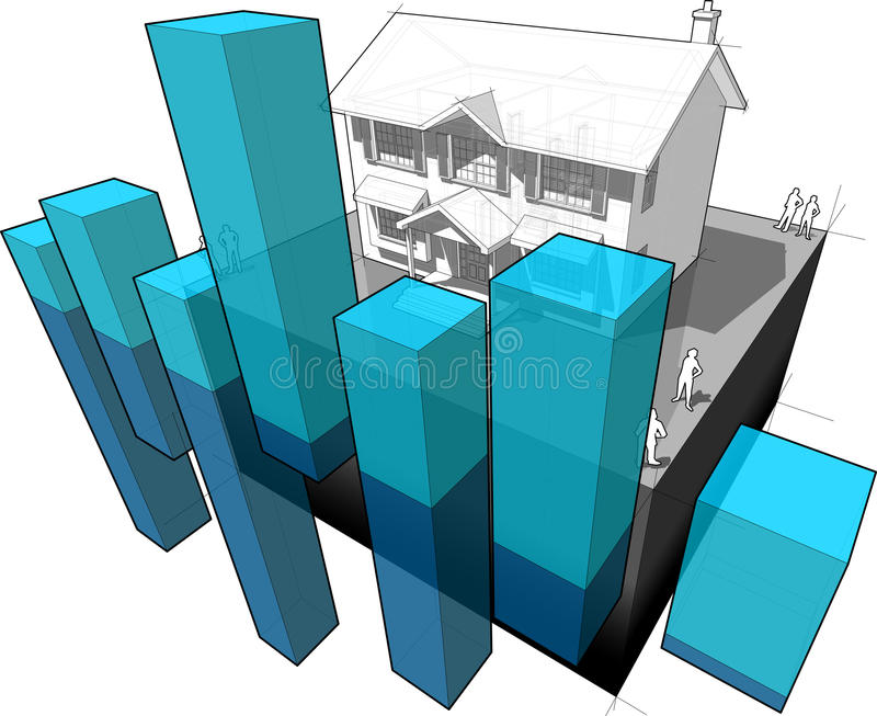 Diagrama colonial da casa e do negócio ilustração stock