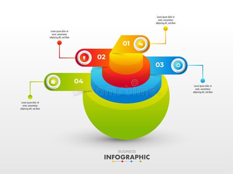 diagrama concêntrico da esfera 3D para o conceito de Infographic do negócio ilustração stock