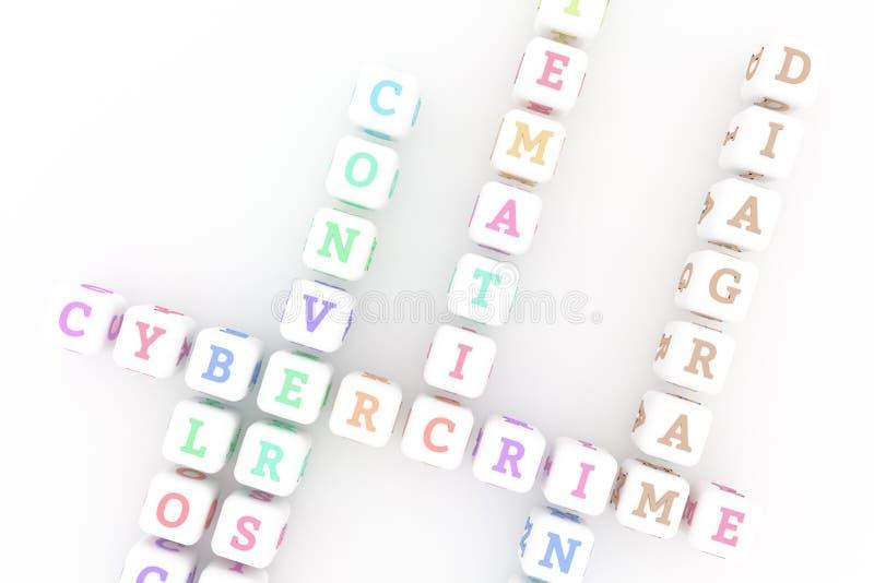Diagrama, crucigrama de la palabra clave de las TIC Para la p?gina web, el dise?o gr?fico, la textura o el fondo representaci?n 3 stock de ilustración