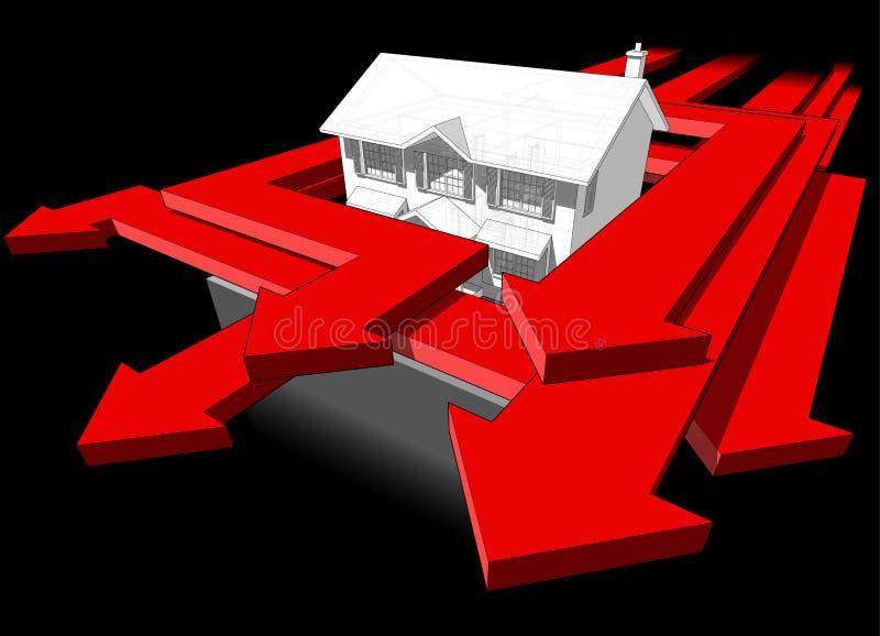 Diagrama da casa colonial clássica e de muitas setas ilustração do vetor