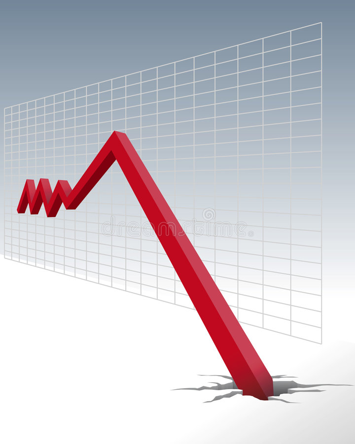 Diagrama da diminuição econômica ilustração royalty free
