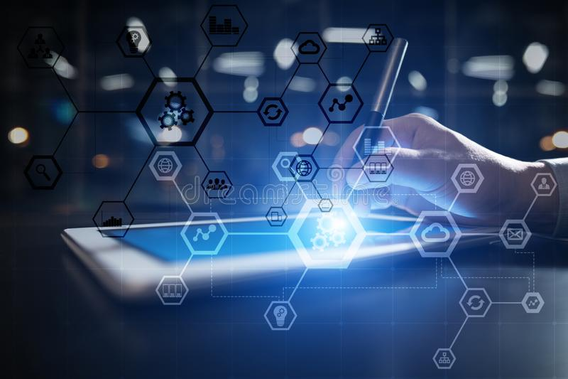 Diagrama da estrutura do negócio, automatização, ERP ou indústria 4 0 conceitos na tela virtual do PC moderno imagens de stock royalty free