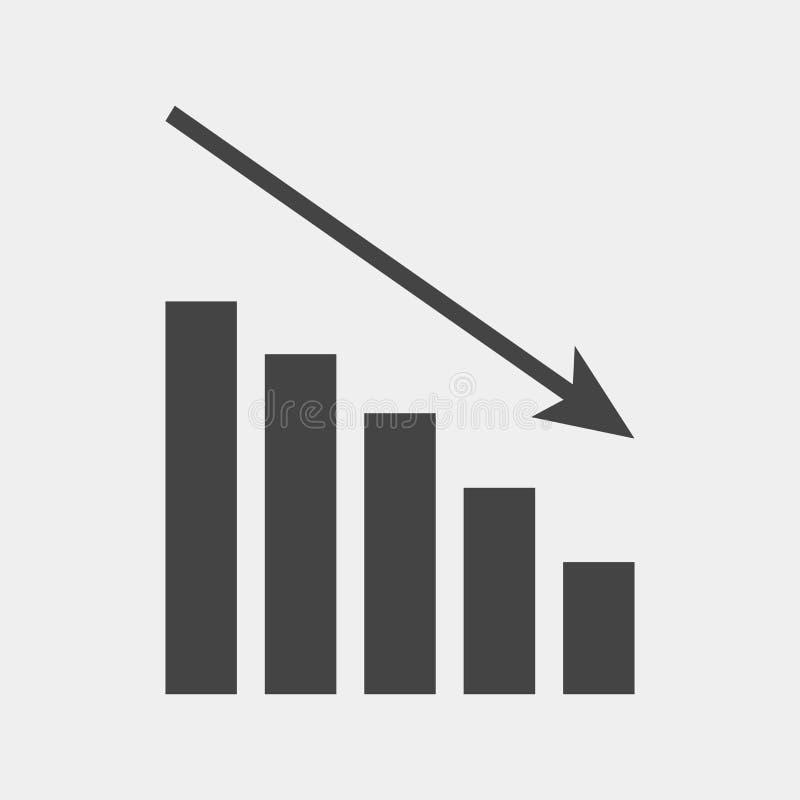 Diagrama da imagem do vetor da diminuição A seta no gráfico mostra para baixo recession ilustração do vetor