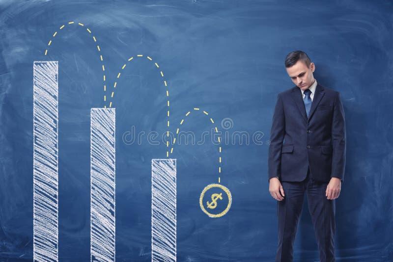 Diagrama da virada e de coluna da posição do homem de negócios com um sinal de dólar que cai para baixo imagem de stock