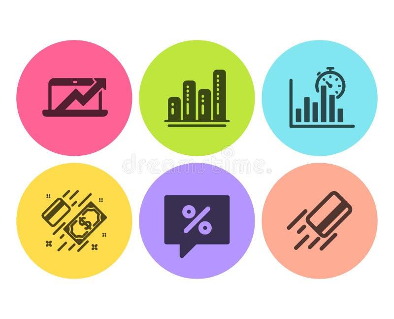 Diagrama das vendas, de carta do pagamento e do gráfico grupo dos ícones Mensagem do desconto, temporizador do relatório e de car ilustração royalty free