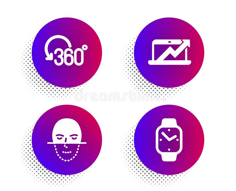Diagrama das vendas, rotação completa e de reconhecimento de cara grupo dos ícones Sinal de Smartwatch Vetor ilustração do vetor
