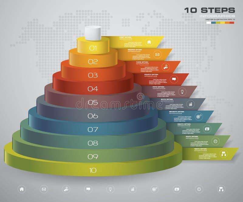 diagrama de 10 capas de los pasos Elemento abstracto simple y editable del diseño ilustración del vector
