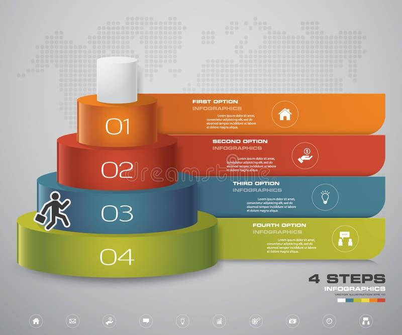 diagrama de 4 capas de los pasos Elemento abstracto simple y editable del diseño stock de ilustración