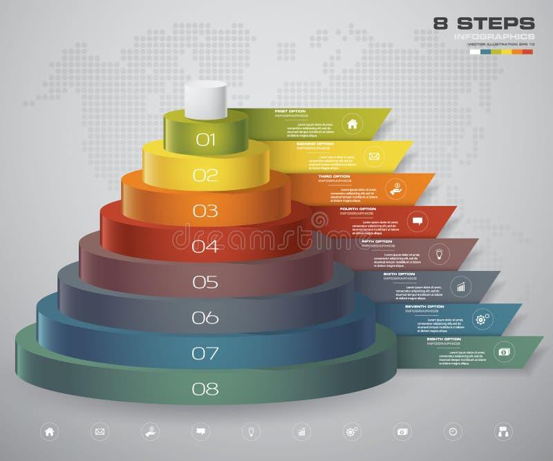 diagrama de 8 capas de los pasos Elemento abstracto simple y editable del diseño stock de ilustración