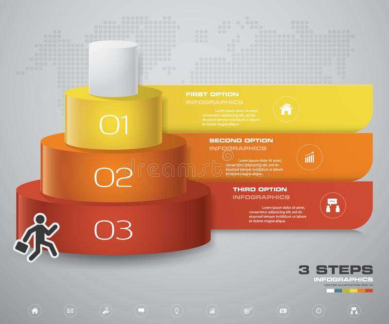 diagrama de 3 capas de los pasos Elemento del diseño del extracto de Simple&Editable ilustración del vector