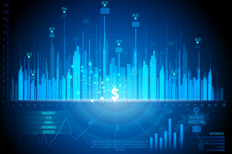 Diagrama de carta financeiro do gráfico do negócio ilustração royalty free