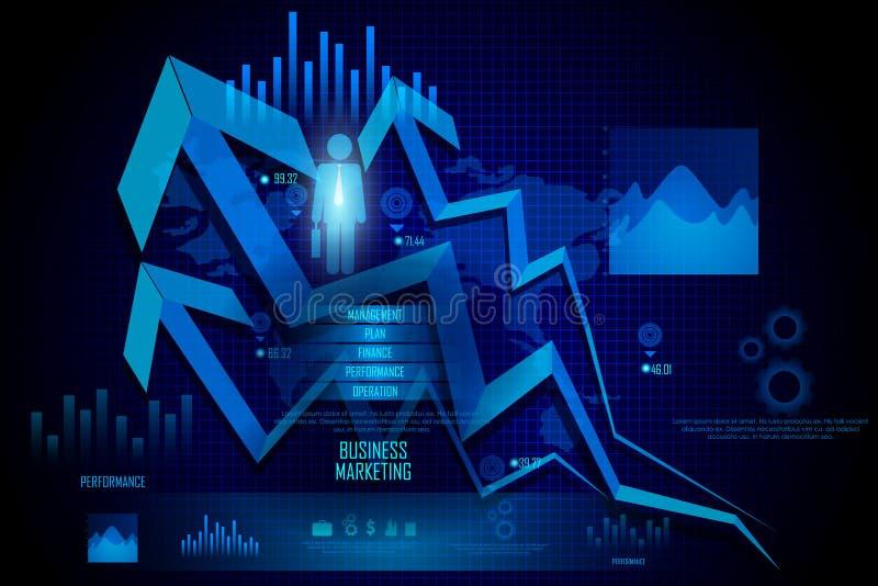 Diagrama de carta financeiro do gráfico do negócio ilustração stock