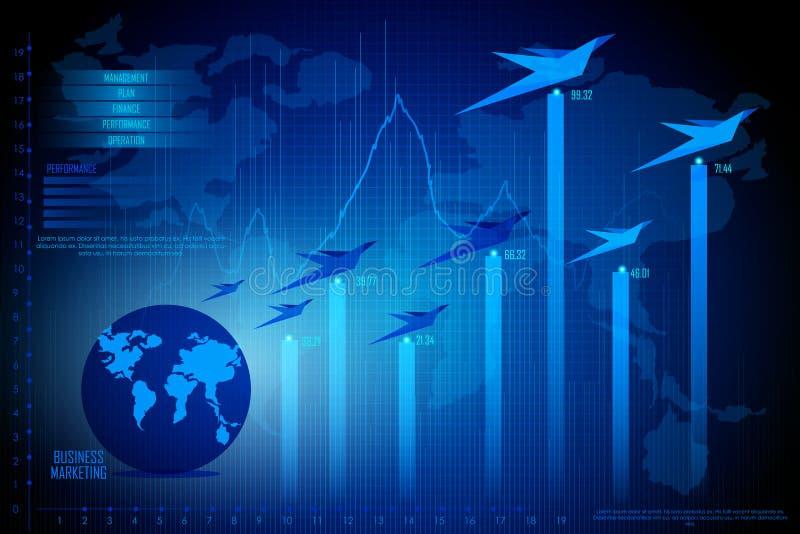 Diagrama de carta financiero del gráfico del negocio ilustración del vector