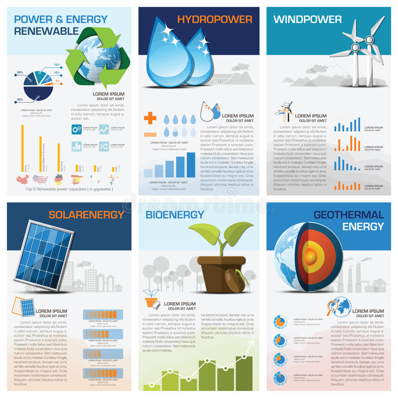 Diagrama de carta renovável Infographic do poder e da energia ilustração royalty free